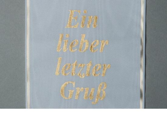 Kranzschleife mit goldener Schriftfarbe